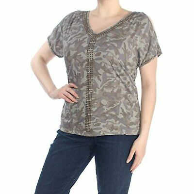 INC NEW Women/'s Camouflage Mixed-Media Cold Shoulder Casual Shirt Top TEDO