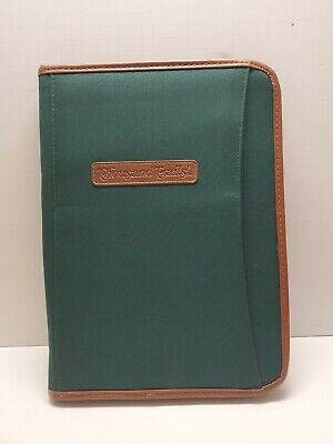 Thousand Trails Notepad Cover Binder Green Brown Leather Trim