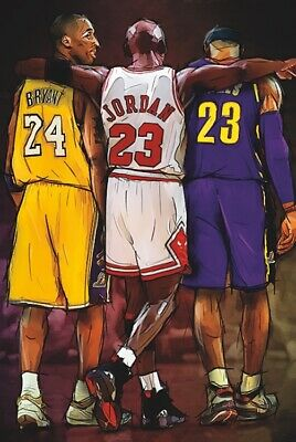 Kobe Bryant / Michael Jordan / LeBron James - TRIBUTE - Poster 24 in X 36 in