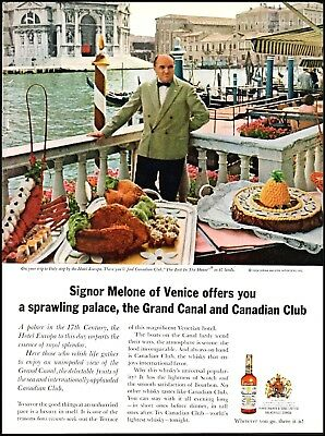 1964 Hotel Europa Grand Canal Canadian Club whisky vintage photo Print Ad ads19