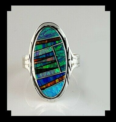 Native American Onyx and Opalite Inlay Ring Size 7 14
