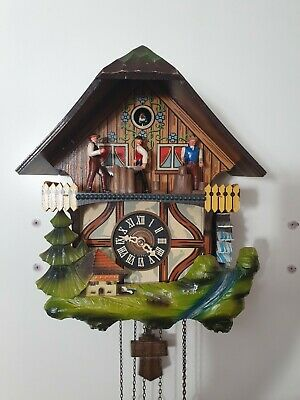 Schmeckenbecher Animated Chalet musical Cuckoo Clock -fully working- lumberjack