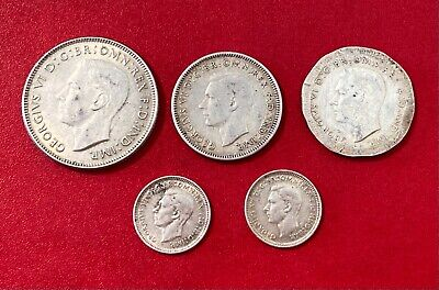 Australian Coins:five Coin Lot-Shillings, Florins & Three Pence-See Description