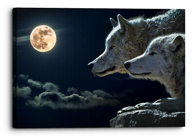 """Wolf Moon At Night Black /& White Wall Art 3 x Split Panel Canvas Pictures 10x20/"""""""