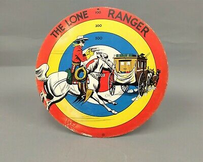 Made for Rubber Suction Darts C Marx U.S.A Lone Ranger Tin Target Toy Double Sided, 1938