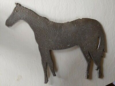 "Vintage 12"" hammered aluminum horse placard sign for equestrian barn stable!"