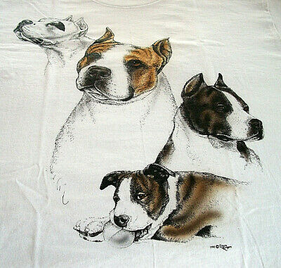 "American Staffordshire Terrier T-shirt "" White "" SM ( 34 ~ 36 )"