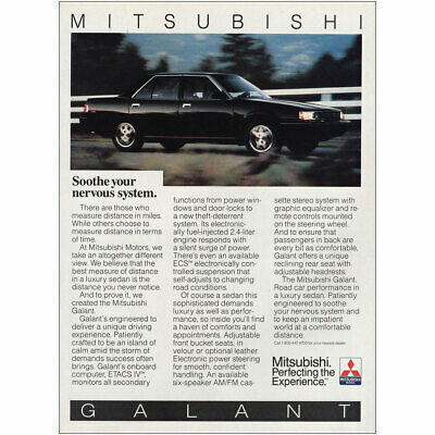 1987 Mitsubishi Galant: Soothe Your Nervous System Vintage Print Ad