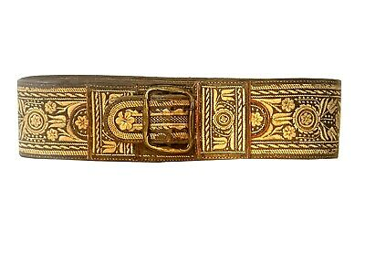 Traditional handmade Alpine folklore leather belt w. embroidery 1835 rarity