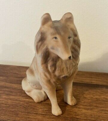"Vintage Collie Dog Bisque Animal Sitting 3.5"" Tall with gold color name tag"