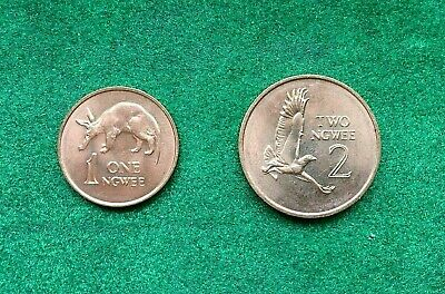 Zambia 2 Coins 1 2 Ngwee 1983 Aardvark & Martial Eagle Unc