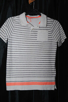 OSHKOSH B'Gosh Boys White Black Orange Stripes Polo Shirt Age 12 Years