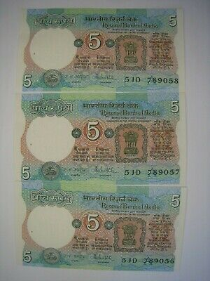 INDIA 5 RUPEES (1975-02) Running Numbers Series 51D Ser.Nos.789056,789057,789058