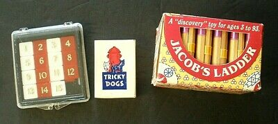 3 Classic Children's Toys  Jacob's Ladder,  Steiners 15 Puzzle,  Tricky Dogs