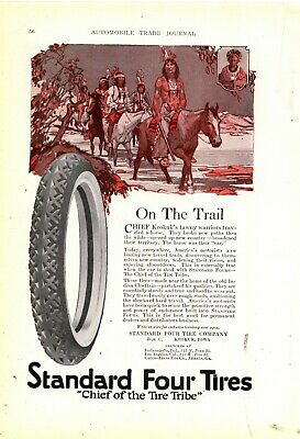 """1920 Standard Four Tire Co. Ad: """"Chief of the Tire Tribe"""" - Chief Keokuk, Iowa"""