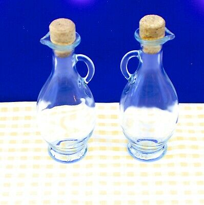 Pair of Elliptical shaped Oil and Vinegar glass  pouring dispensers vgc