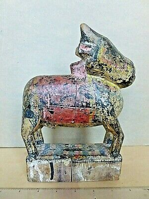 Folk Art Hand Carved Polychrome Wooden Cow Figure Sculpture Toy India C.1890