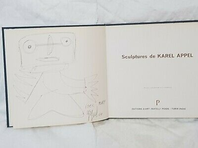 Karel Appel Ink Drawing On A Dedicated Signed And Dated Book