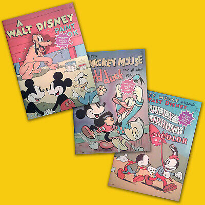 Vintage Disney Coloring / Story Books, Mickey Mouse, Donald Duck, Lot of 3