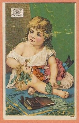 Victorian Trade Card - JAMES PYLE'S PEARLINE girl doll wallet money $$$ scissors