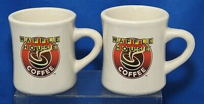 Lot of 2 VINTAGE WAFFLE HOUSE RESTAURANT COFFEE CUP MUG HEAVY CERAMIC