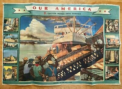 Vintage 1943 Our America School Chart Loading Cotton At A Pier By Coke-Cola