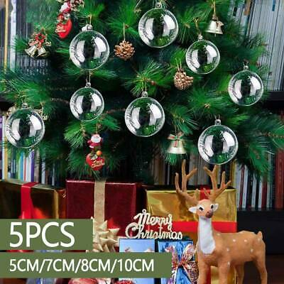 5/10/20x Christmas Ball Plastic Baubles Clear Fillable 🎁 Tree Decor Ornament