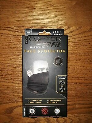Copper Fit Guardwell Face Protector - NEW, Adult Unisex, Charcoal