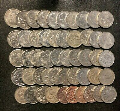 Old Australia Coin Lot - 50 HIGH GRADE 5 CENT COINS - BIG LOT - Lot #M2