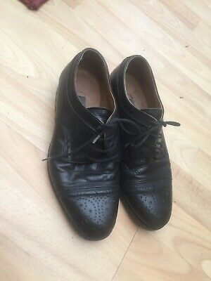 VINTAGE BALLY BLACK LEATHER WOMENS LACE UP BROGUES 40s 50s VTG 39.5 6.5