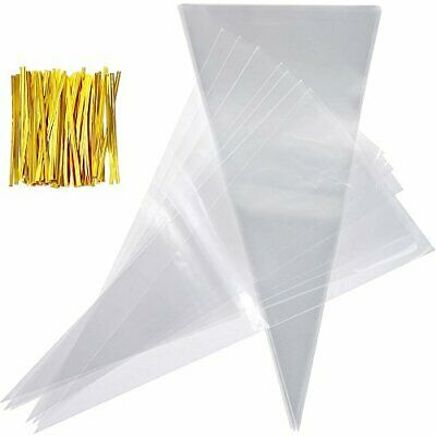 100pcs Cone Bags for Sweets Clear Cellophane Bags and Ties for Party