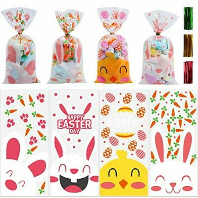120pcs Easter Cellophane Bags, Easter Candy Treats Sweet Clear Cellophane