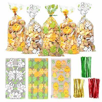 50 Pieces Easter Cellophane Bags Candy Bags with 300 Twist Ties for