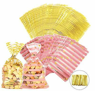 200PCS Cellophane OPP Bags with Twist Ties for Cookie, Bakery, Candy, Sweet,