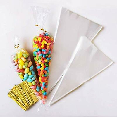 200 pcs Cellophane Sweet Cone Bags and Ties Transparent Popcorn Bags Clear Candy