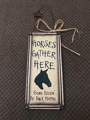 Horse Country Wooden Wall Plaque Sign Home Decor 3inX6in