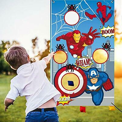 Superhero Toss Games-Throwing Game Banner with 3 Bean Bags-Superhero Party