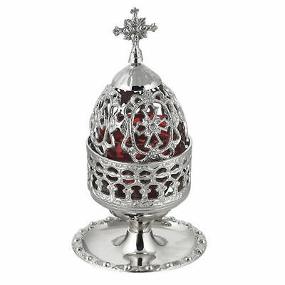 Beautiful Nickel Plated Table Vigil Lamp Orthodox Church Prayer Corner free s&h