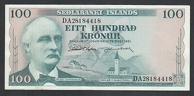 Iceland 100 Kronur  1961  VF+  P. 44,  Banknotes, Circulated