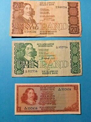 3 South Africa Bank Notes - Grades F15 to VF25