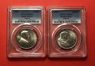 South Africa 2 Coins 1 Rand (1966&1967)-English -Graded By Pcgs Ms64..Rare Grade