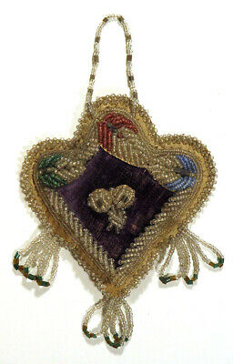 Early 1900s Antique IROQUOIS Native American BEADWORK Heart Wall Hanging Purple