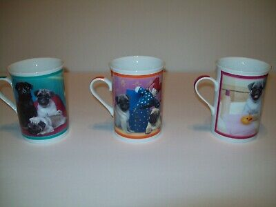 Purely Pugs Porcelain Collector Mugs, Taking a Dip, Playtime Pugs, Bathtime