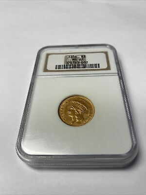 1856 $3 Princess Gold NGC MS62. Extremely Rare! Only 26 Graded Higher By NGC!!!!