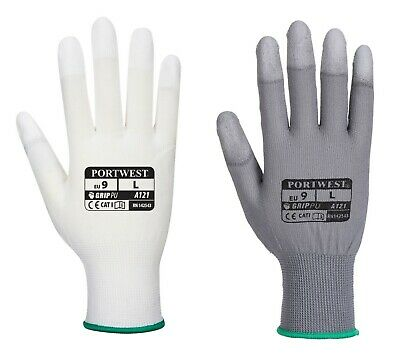 12 x Portwest A121 PU Fingertip Coated Glove - Delicate Assembly Inspection ***