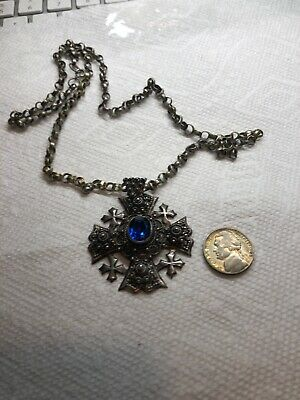 Antique Sterling Silver Chain With Pendanr With Blue Stone 43.3 Grams