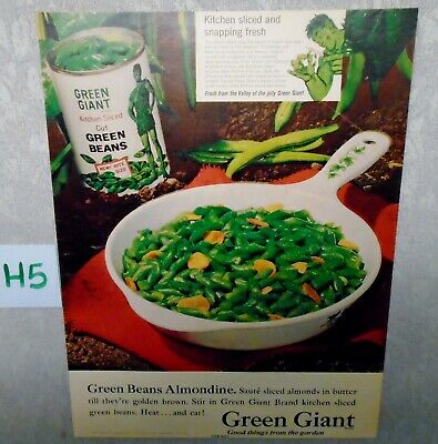 Vintage Pillsbury Green Giant Magazine Ad Suitable for Framing H5 GREEN BEANS