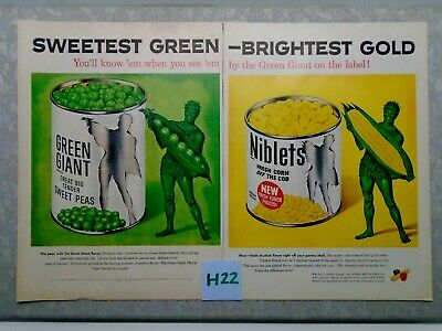 Vintage Pillsbury Green Giant Double Magazine Ad Suitable for Framing H22 PEAS