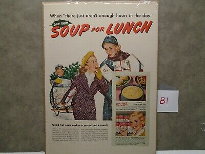Vintage 1950's CAMPBELLS SOUP SOUP FOR LUNCH CHRISTMAS SHOPPING Magazine Ad  B1