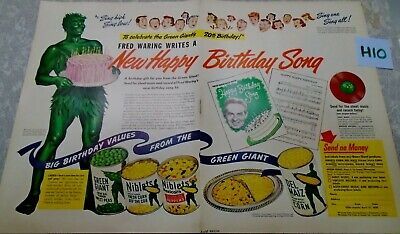 Vintage Pillsbury Green Giant Double Magazine Ad Suitable for Framing H10 BDAY